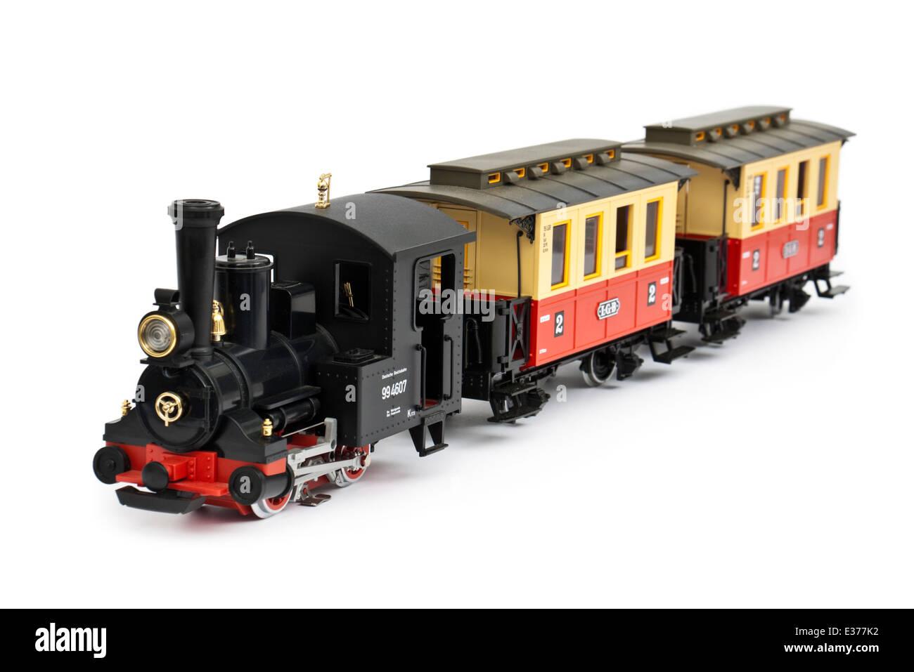 LGB (Lehmann Garden Railway) 92075.5 Dr Class 994607 G-Scale 0-4-0 Tank Locomotive with Passenger Coaches - Stock Image