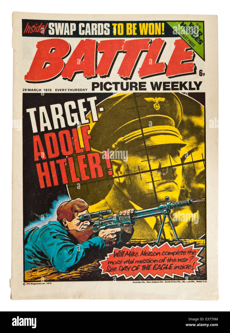 Issue No 4 of 'Battle' (29 March 1975), the popular British comic from the 1970's, with Adolf Hitler - Stock Image