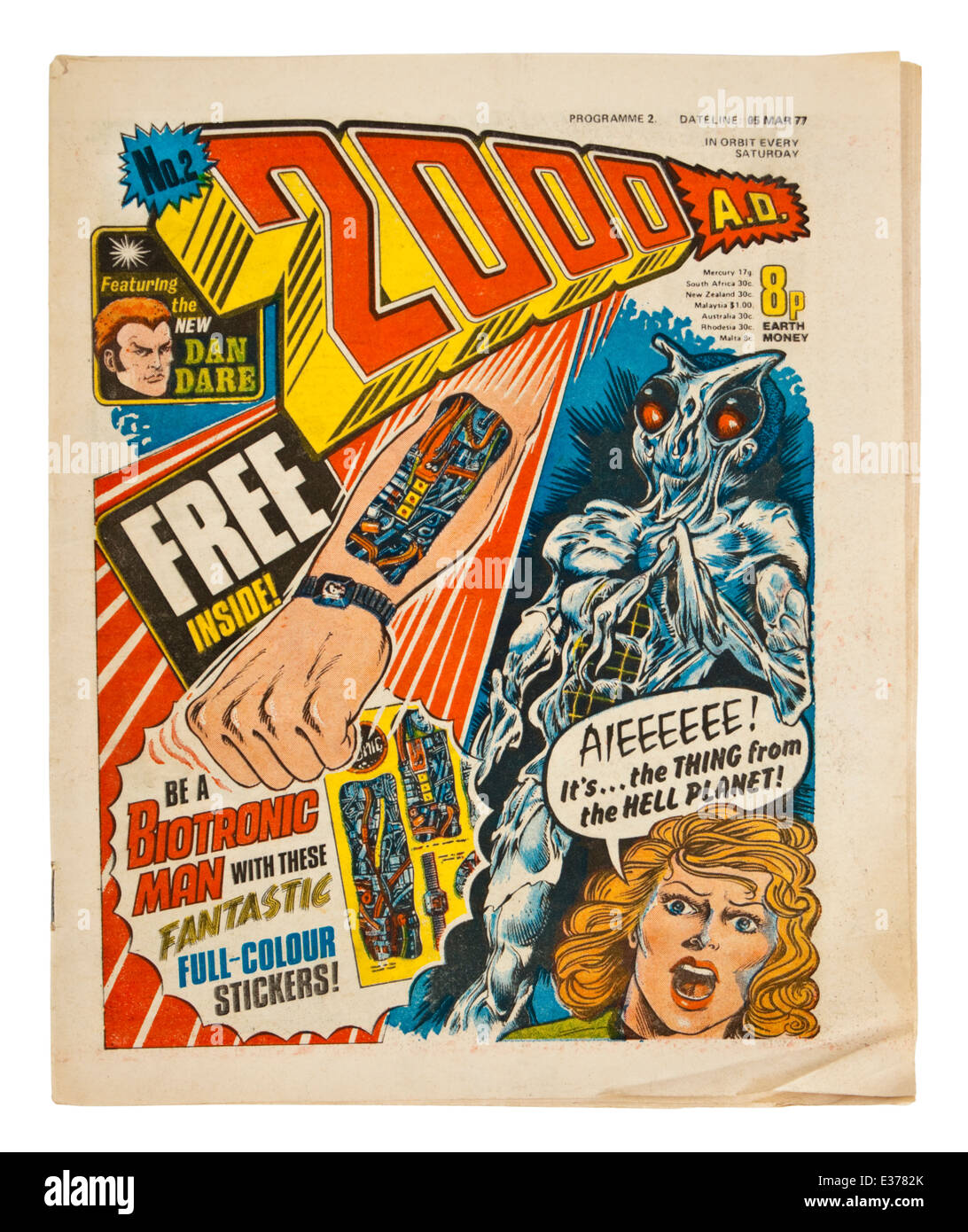 Early copy (No 2) of '2000 A.D.', the popular British weekly sci-fi comic from the 1970's, featuring - Stock Image