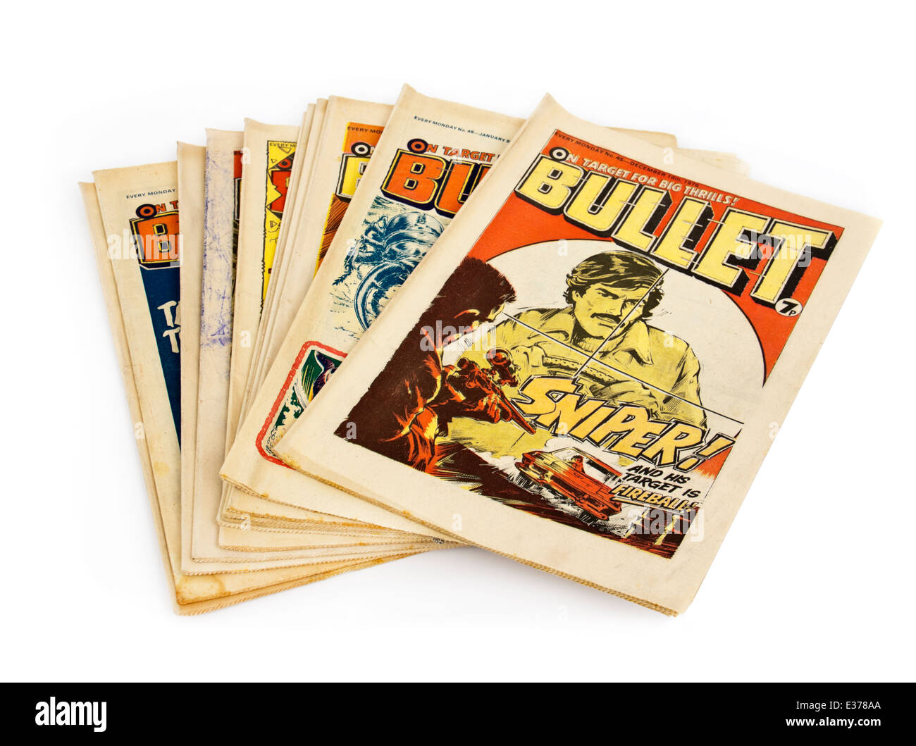 Collection of 'Bullet' comics, the popular British weekly comic for boys from the 1970's, featuring - Stock Image