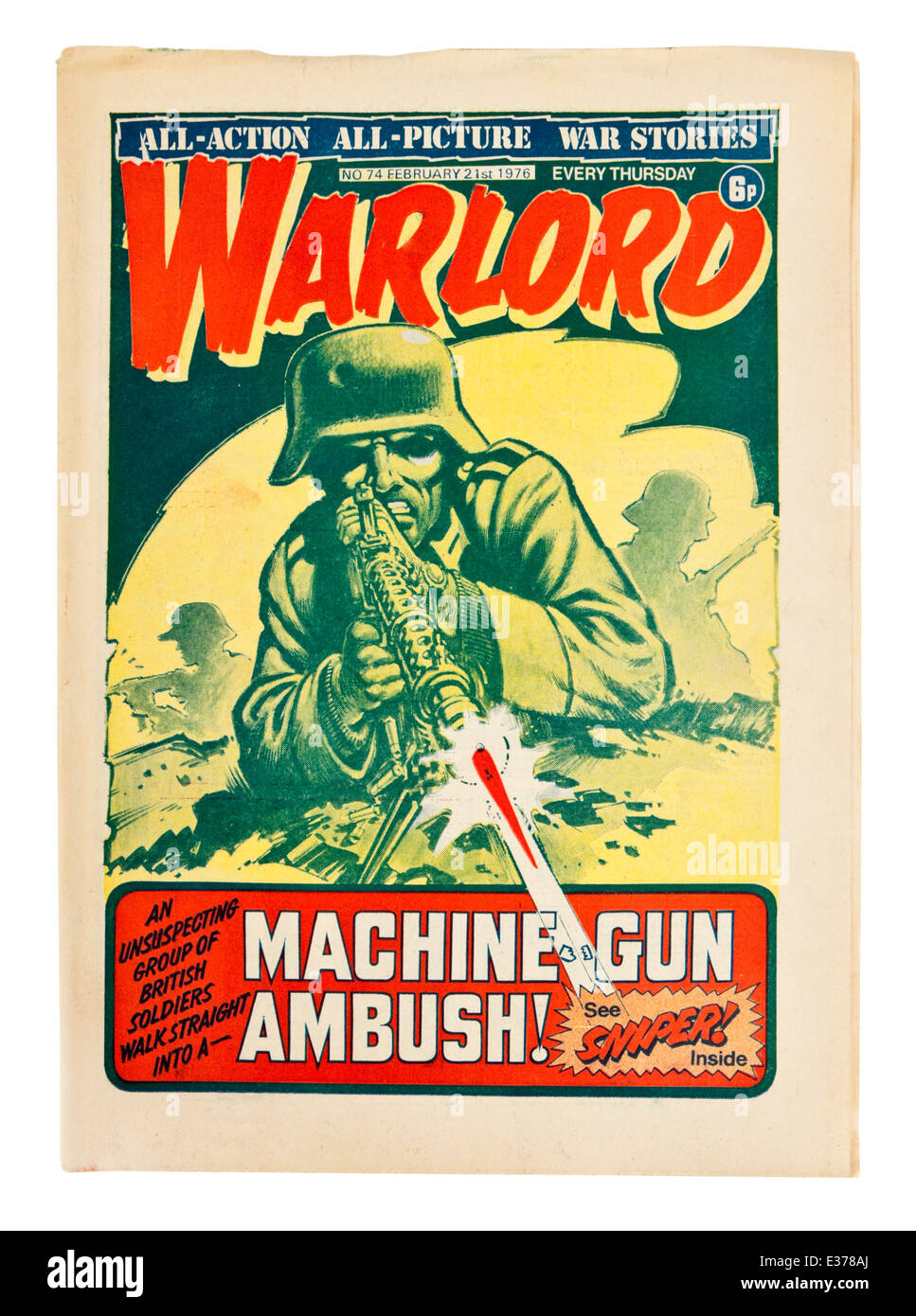 21st February 1976 copy of 'Warlord' (No 74), the popular British weekly war comic for boys from the 1970's. - Stock Image