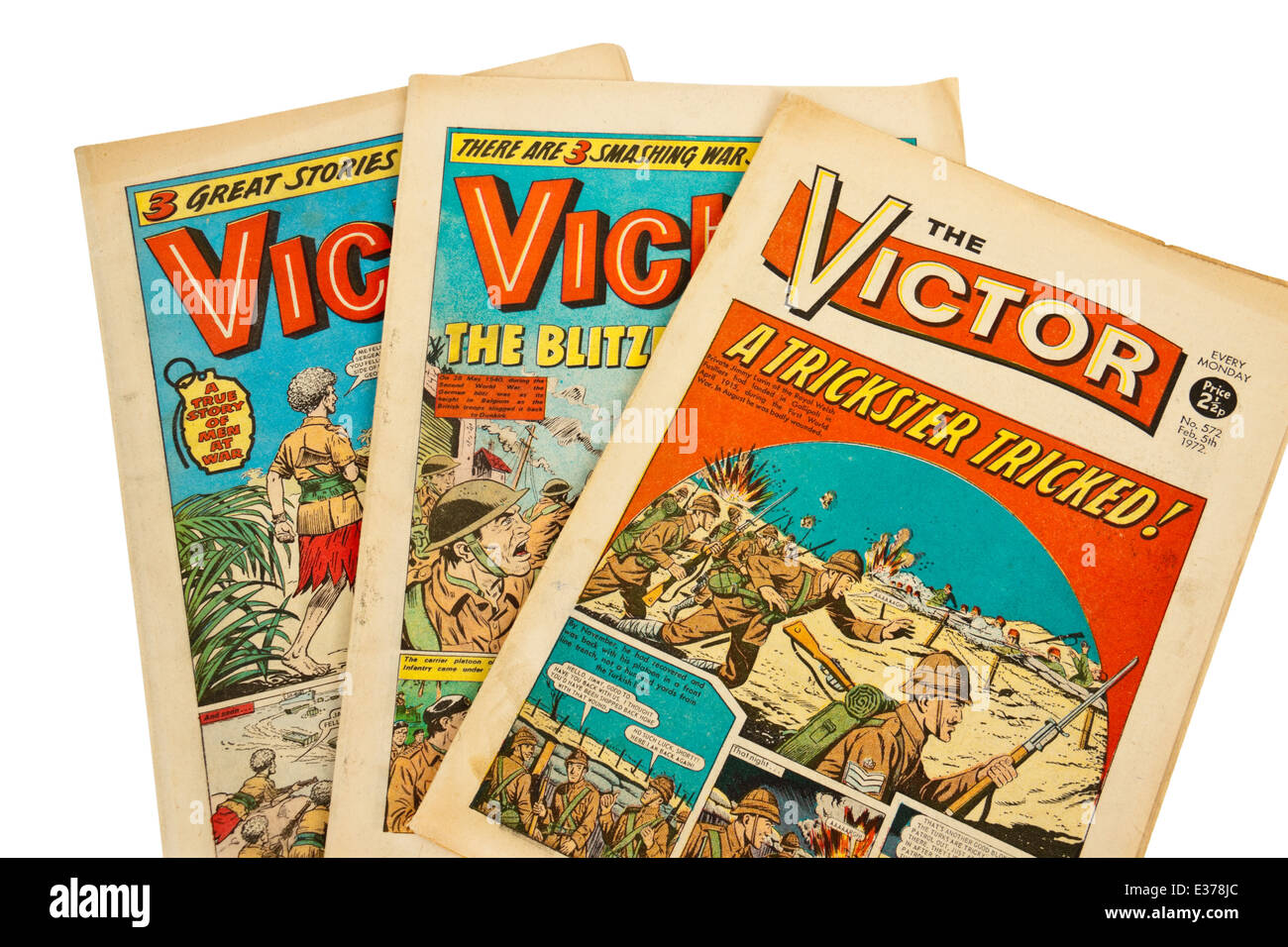 Collection of 'The Victor' comics, the popular British adventure comic from the early 1970's. - Stock Image