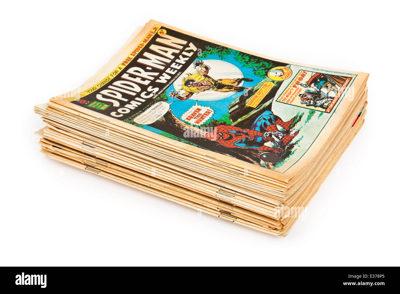 Vintage collection of 'Spider-man Comics Weekly' comics, the popular British weekly comic from the 1970's. - Stock Image