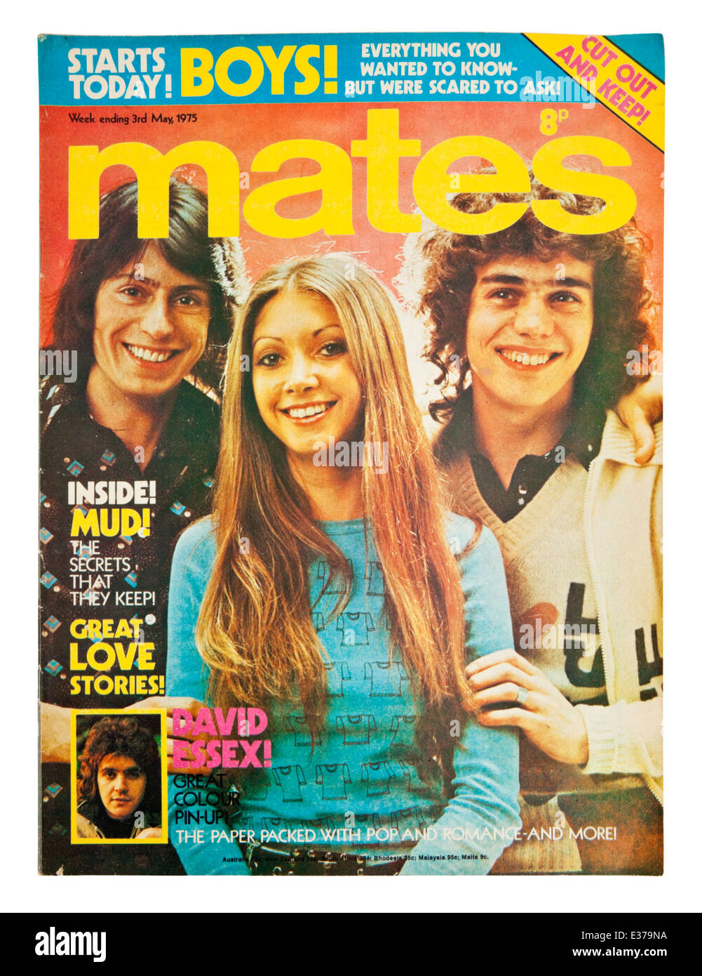 Vintage copy of 'Mates', a popular British weekly teen magazine from the mid 1970's. This is the 3rd - Stock Image