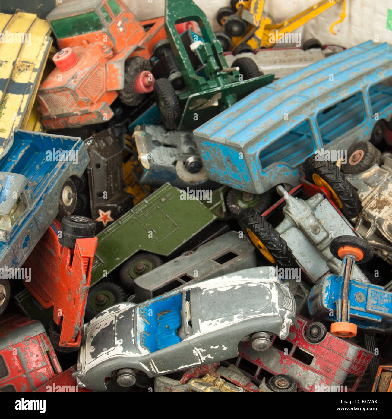 Collection of vintage well-used diecast toy cars by Corgi, Matchbox and Dinky Stock Photo