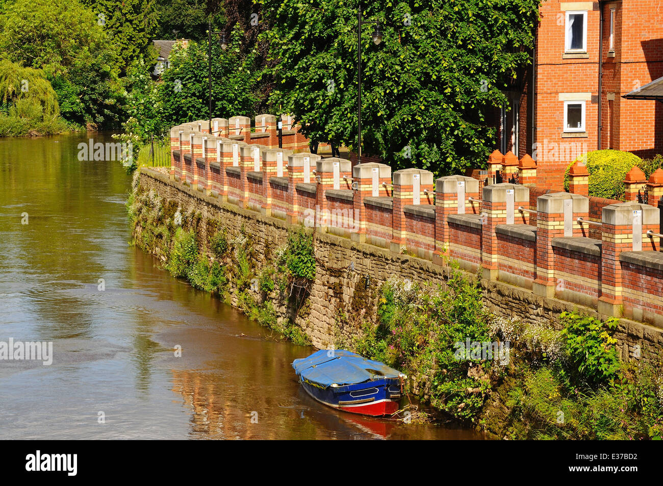 Flood defence wall barrier along the River Wye, Hereford, Herefordshire, England, UK, Western Europe. - Stock Image