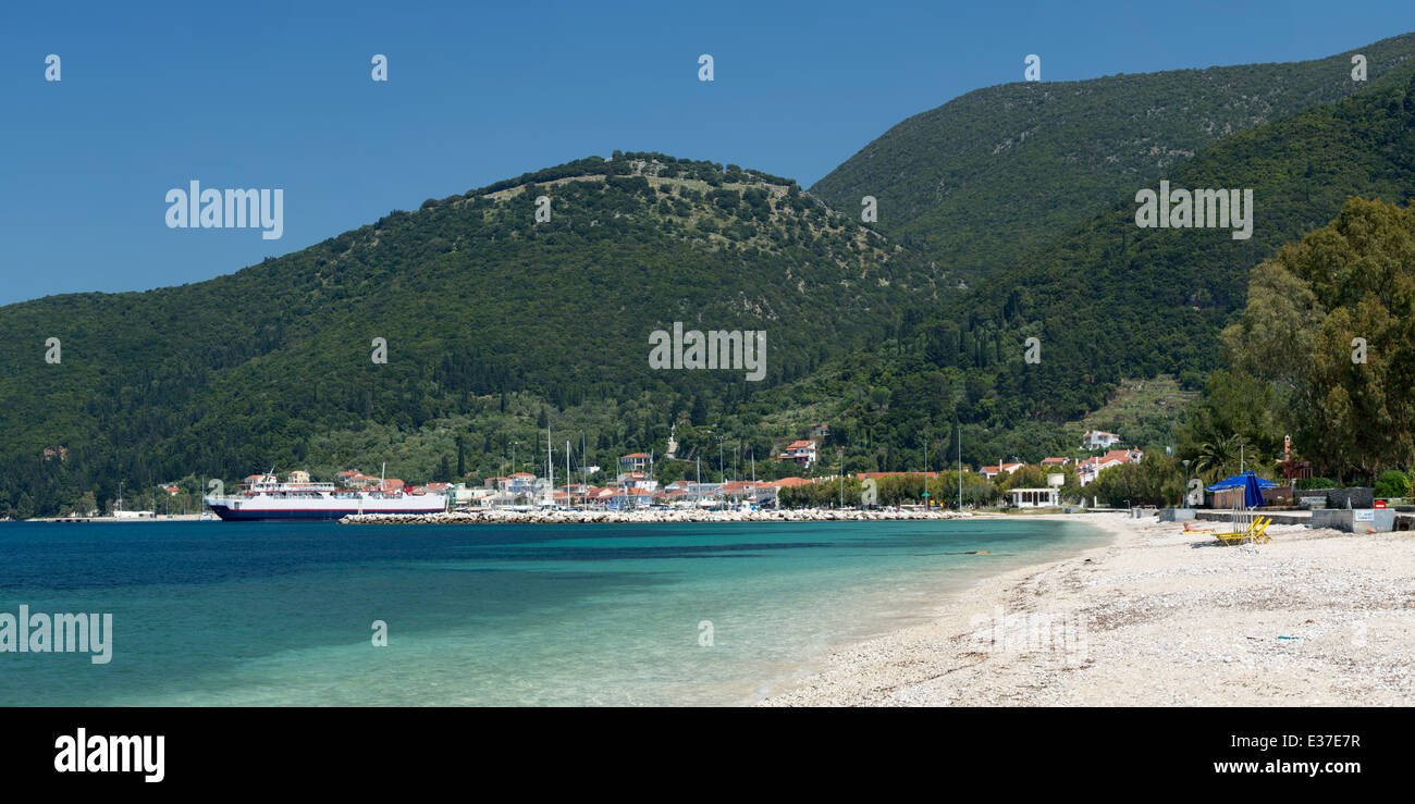 A Cruise Liner is moored up at the port of Sami as seen from Karavomilos Beach, Kefalonia Stock Photo