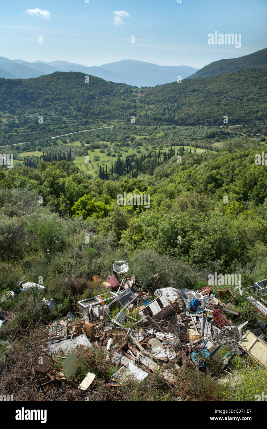 A beautiful view of the mountains and road near Digatelo and Sami, ruined by careless dumping of rubbish, Kefalonia. - Stock Image