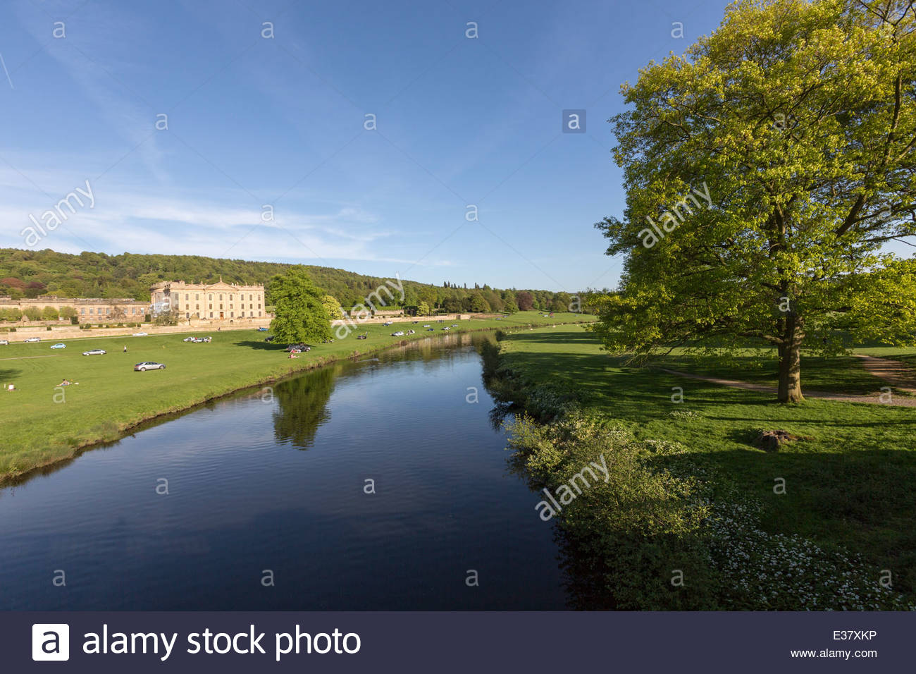 The River Derwent and House at Chatsworth - Stock Image