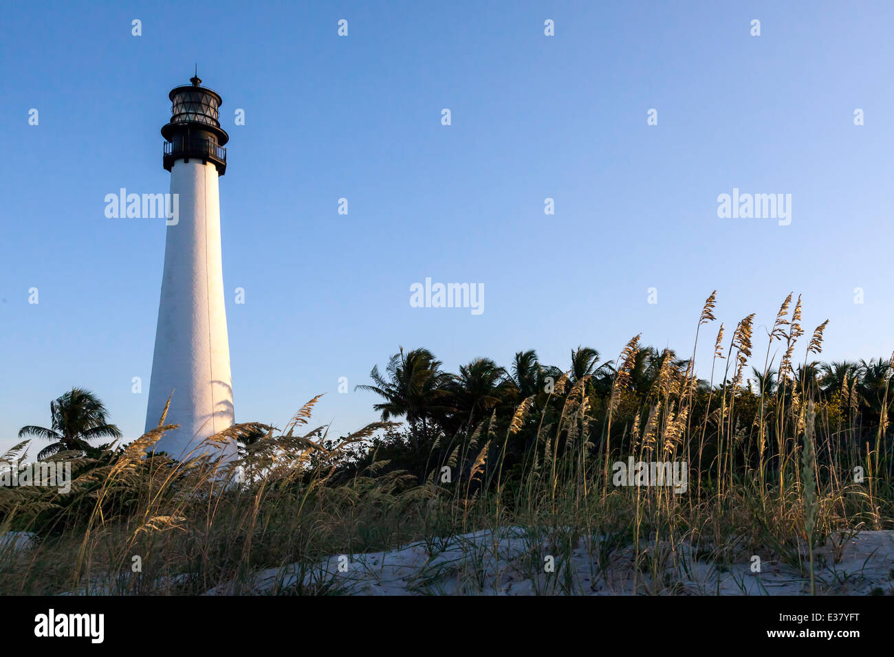 Historic Cape Florida Lighthouse located in the Bill Baggs Cape Florida State Park on Key Biscayne, Miami, Florida, Stock Photo