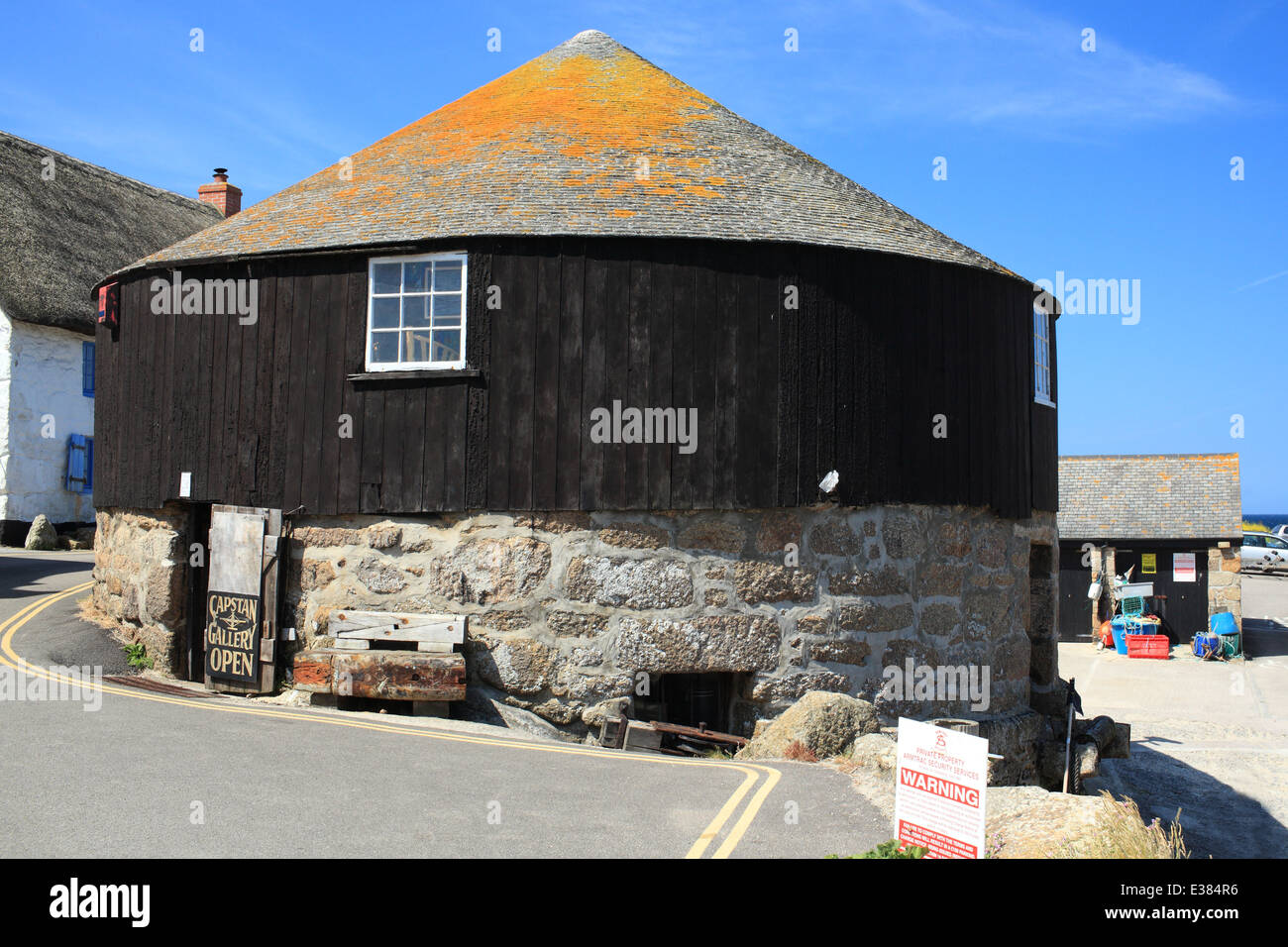 Round building, Sennen Cove, West Cornwall, England, UK - Stock Image