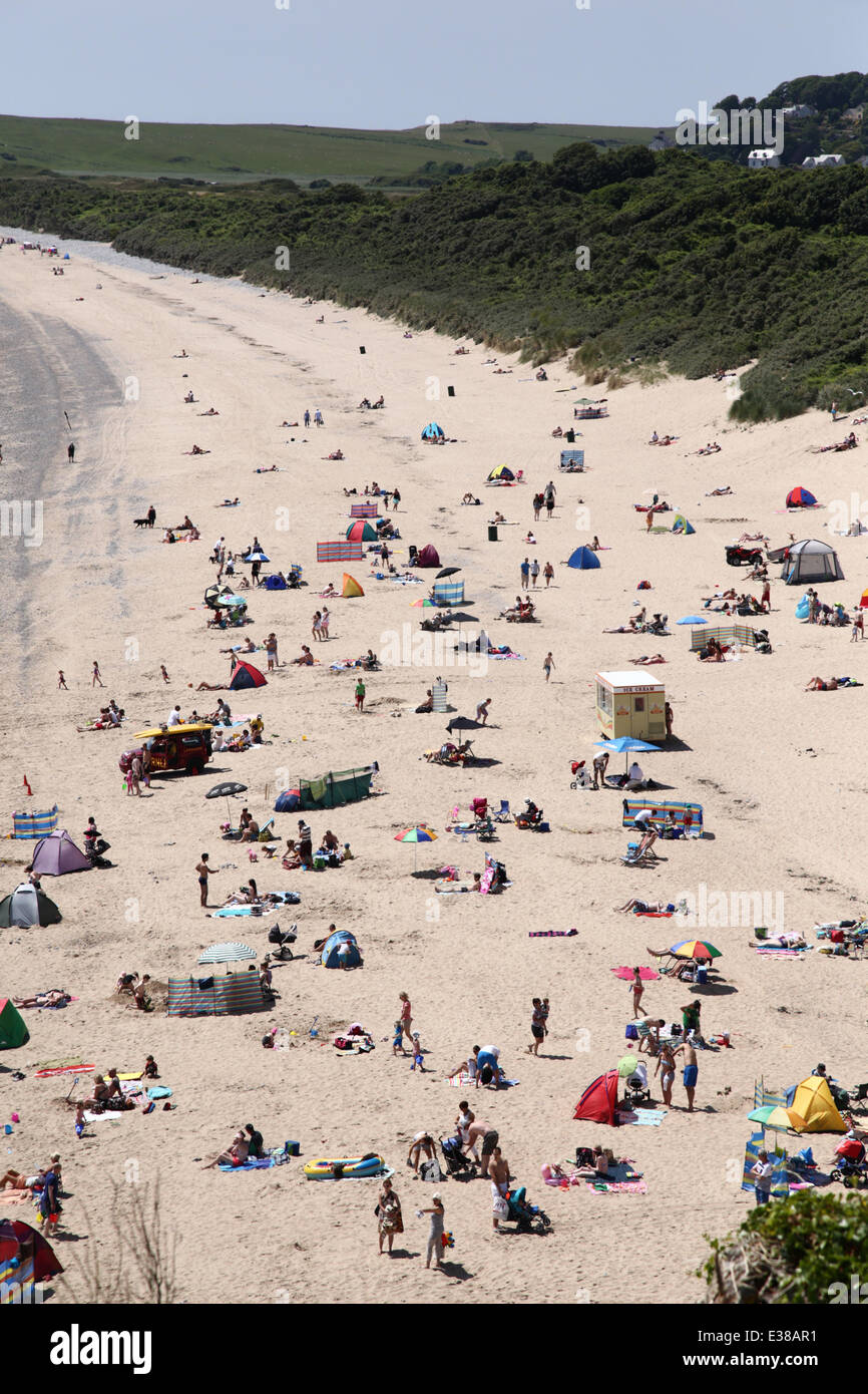 Tenby, West Wales, UK, during the hot weather in summer. - Stock Image