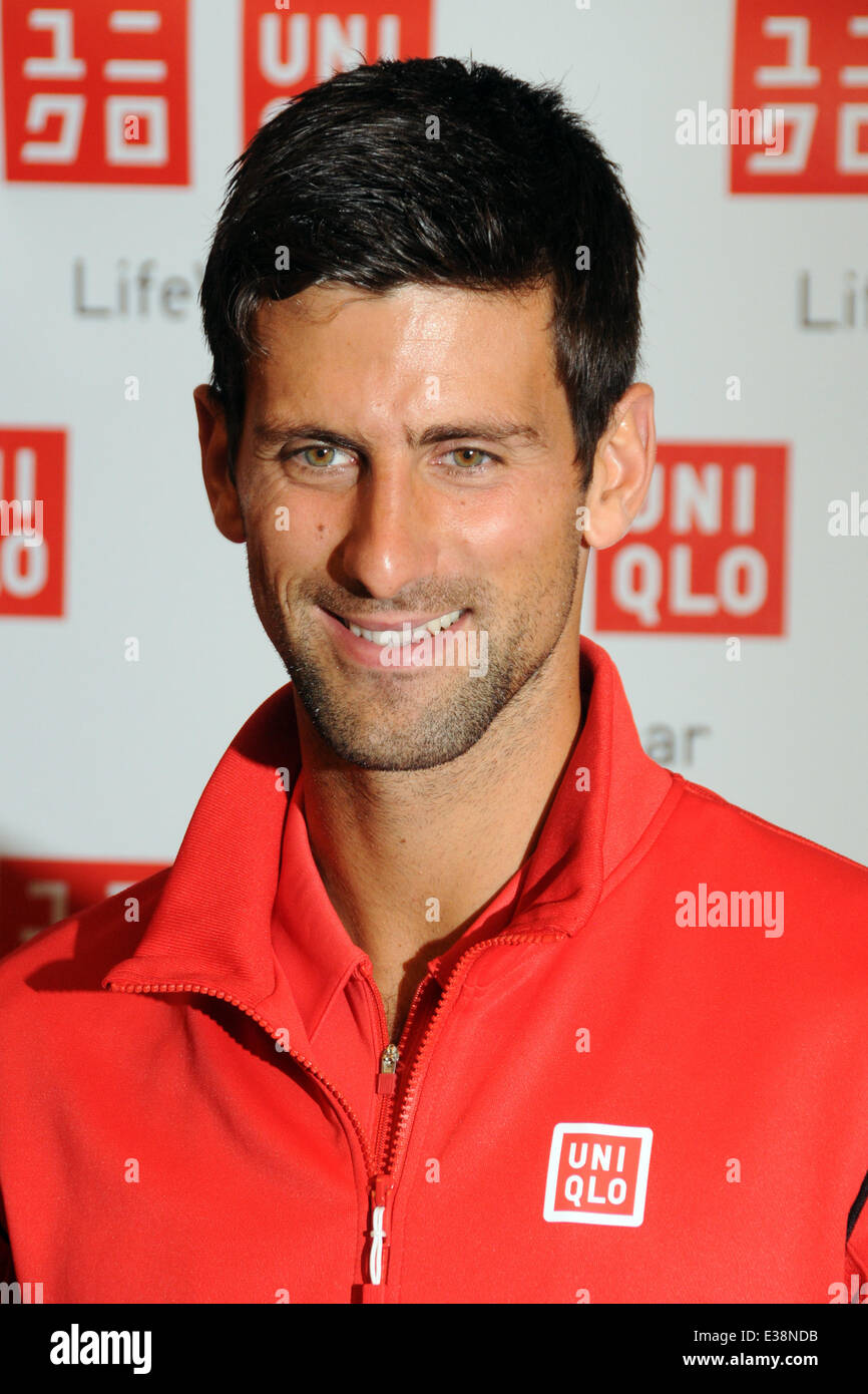 Novak Djokovic Visits The UNIQLO New York Flagship Store on Fifth Avenue  Featuring: Novak Djokovic Where: Manhattan, - Stock Image