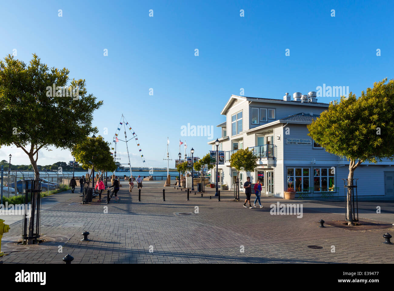 The waterfront looking towards the Boardwalk in downtown Eureka, Humboldt County, California, USA - Stock Image