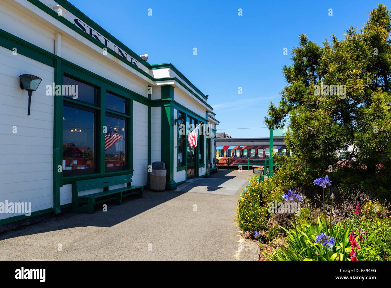 Skunk Train terminus in Fort Bragg, Mendocino County, California, USA - Stock Image