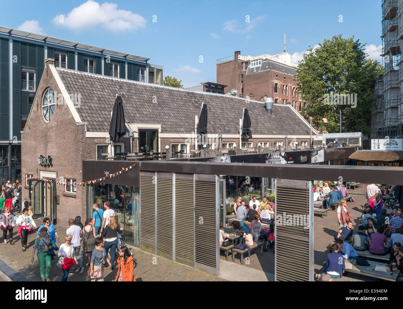 Amsterdam restaurant Werck on the Prinsengracht canal with outside seating area. - Stock Image