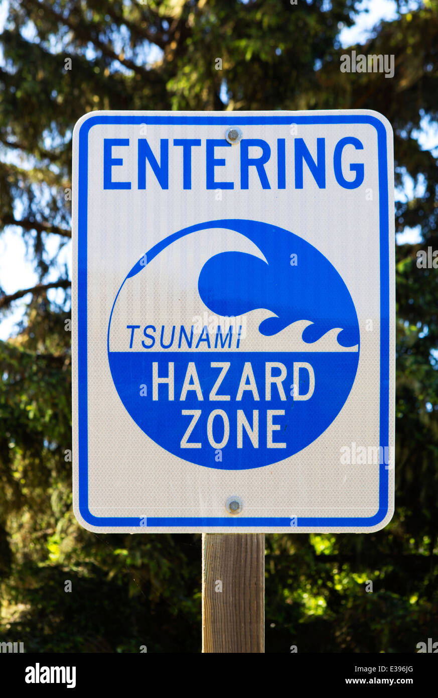 Tsunami Hazard Zone road sign on State Route 1 in Northern California, USA - Stock Image