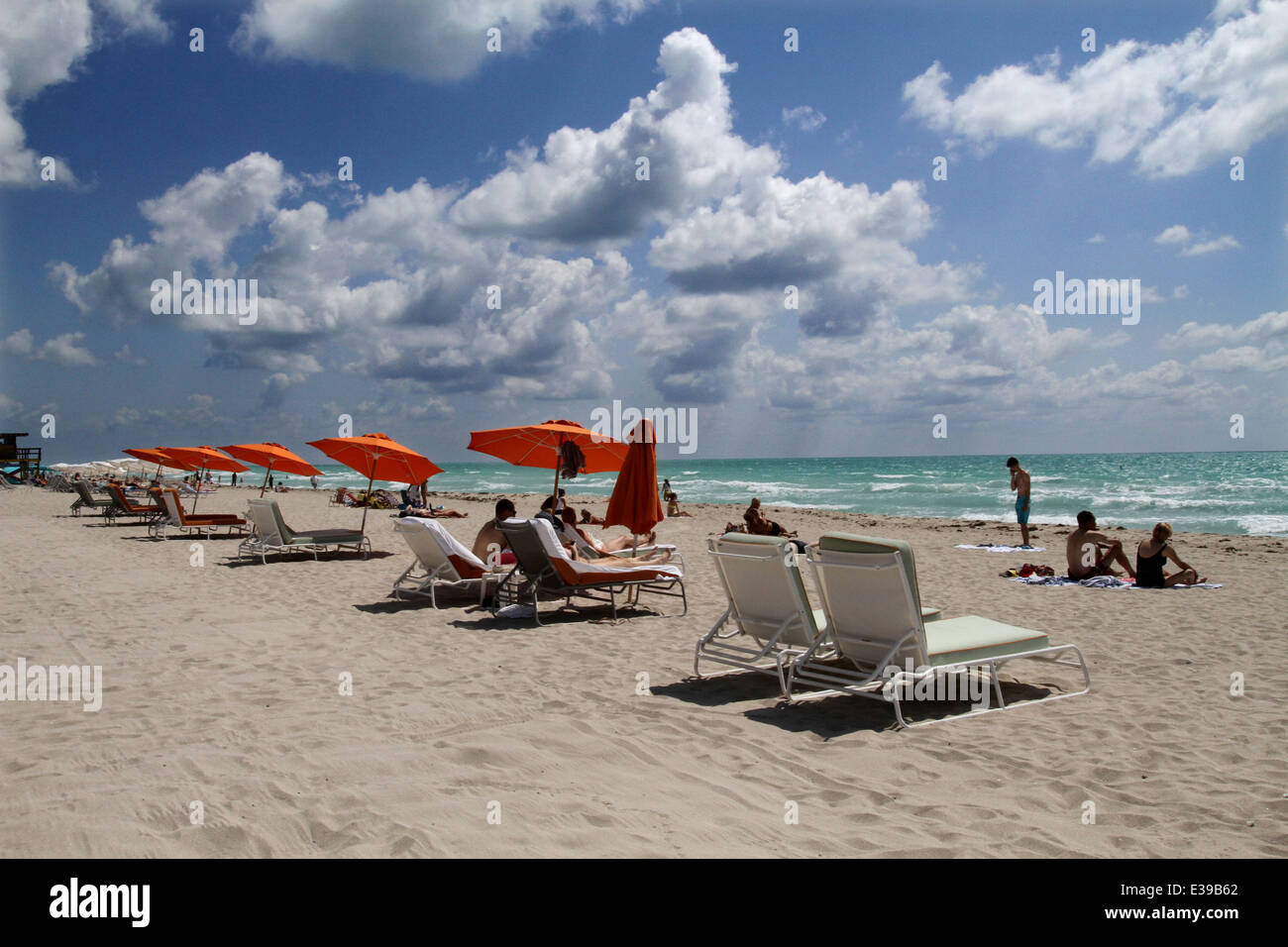 The eclectic South Beach neighborhood of Miami Beach glitters with nightlife – all day long along its Art Deco hotels. Stock Photo