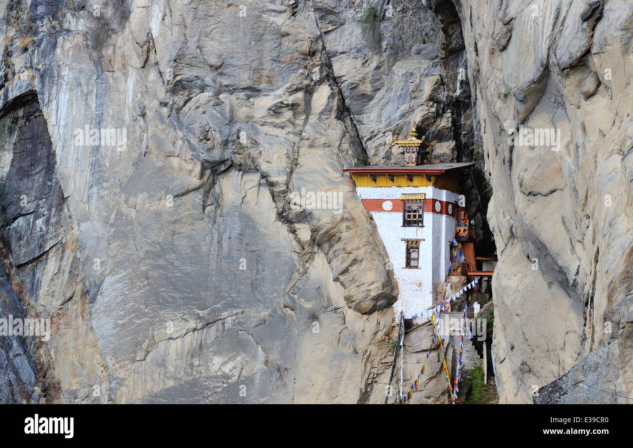 One of the buildings of Taktshang Goemba monastery, Paro Valley, Bhutan - Stock Image