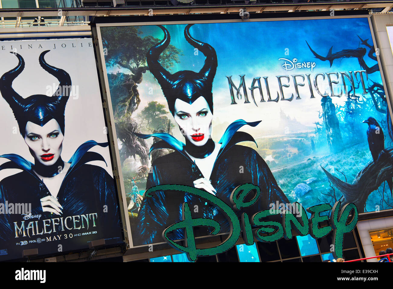 Billboard advertising Disney's Maleficent showing in theaters starting May 30, 2014, New York, USA Stock Photo
