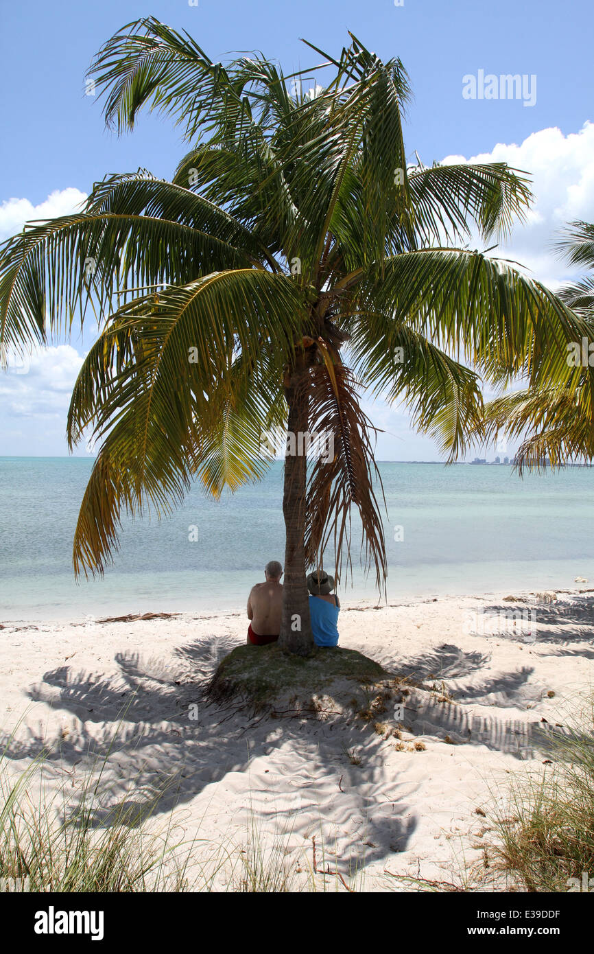Crandon Park's beautiful two-mile beach is consistently named among the top ten beaches in the nation - Stock Image
