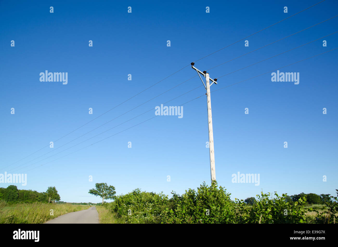 Pole with powerlines by a country road at blue sky - Stock Image