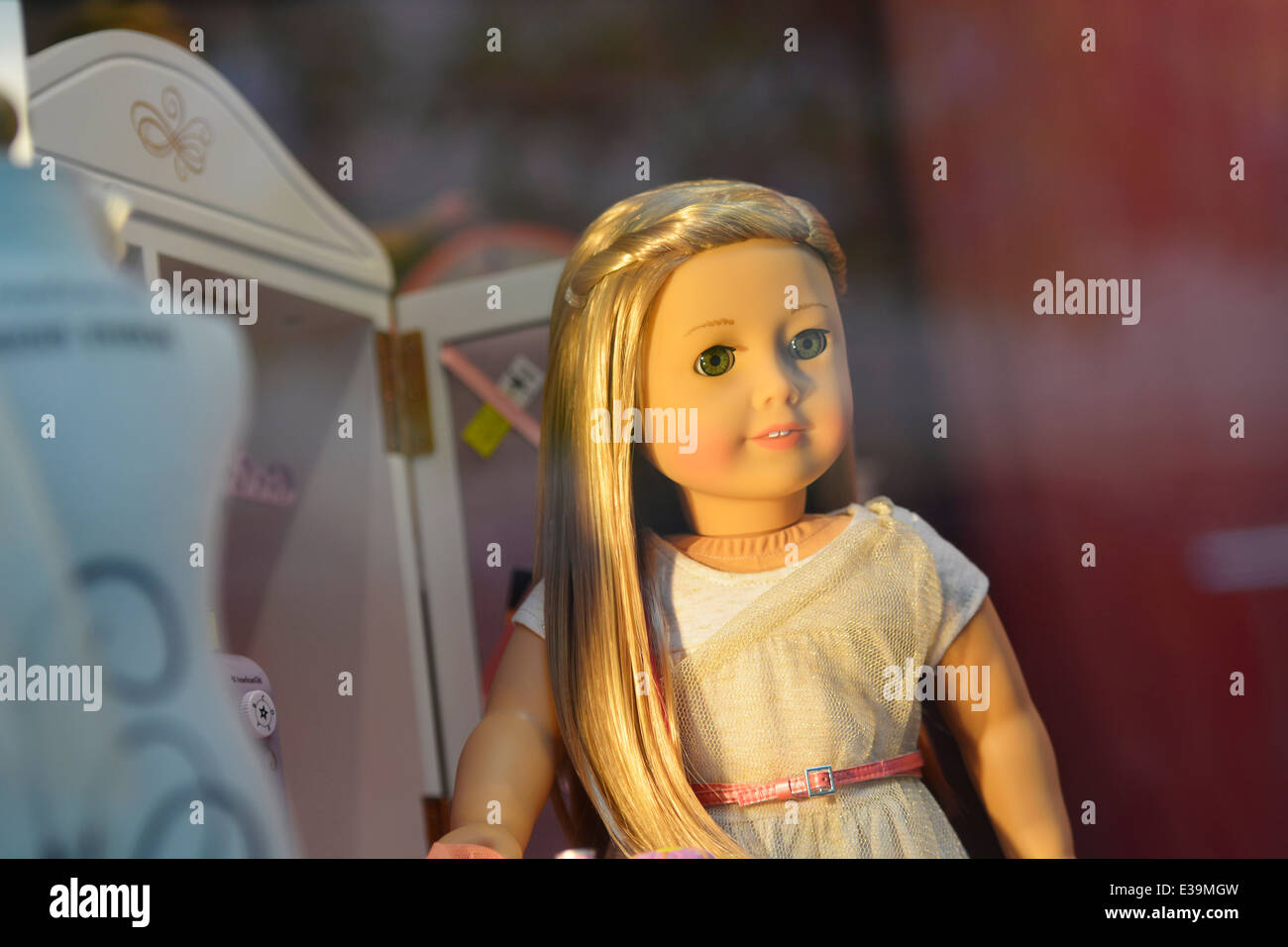 American Girl Doll Isabelle in Shop Window - Stock Image