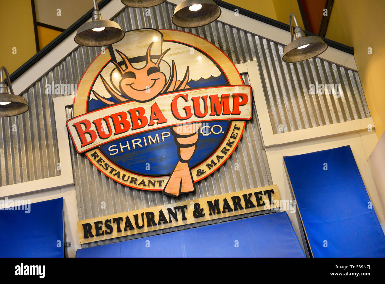 Bubba Gump Restaurant Sign At Navy Pier Chicago Stock