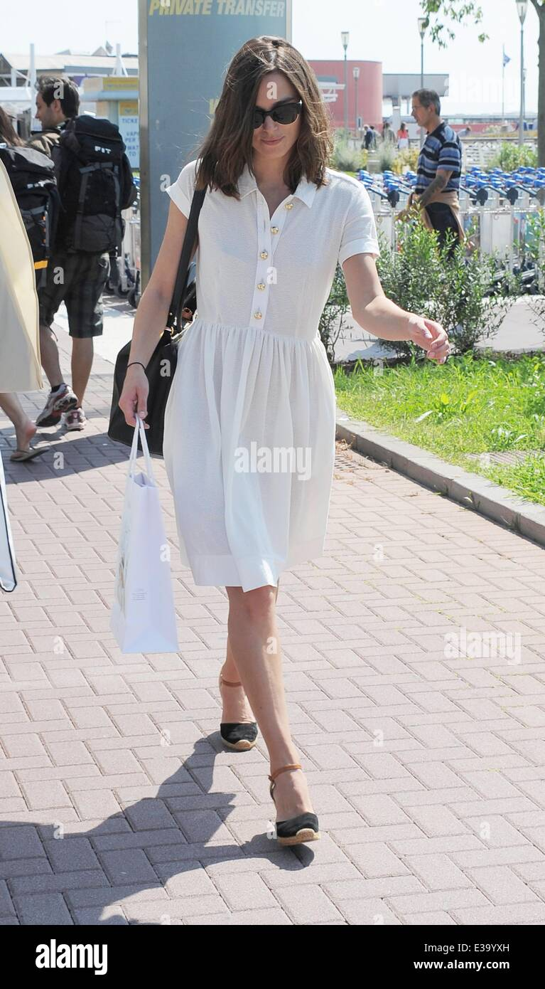 Keira Knightley and husband James Righton seen leaving Venice International Airport  Featuring: Keira Knightley,James - Stock Image