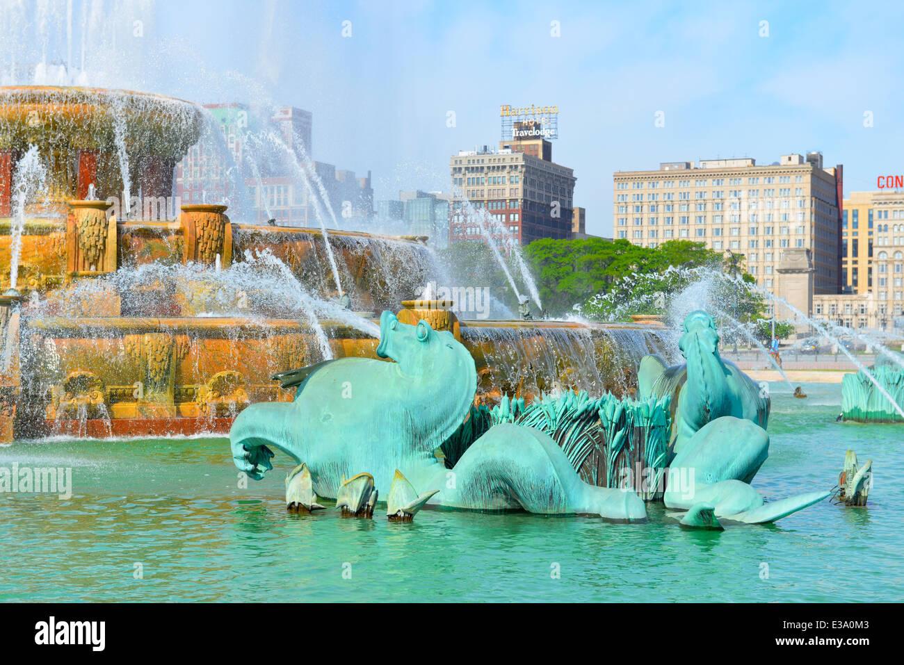 Buckingham Fountain, Fountains, Grant Park, Chicago, Illinois - Stock Image