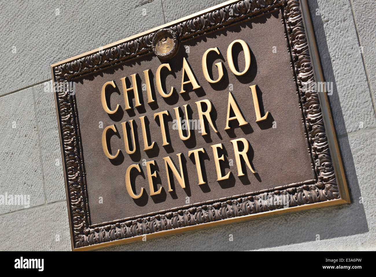 Sign outside, on Chicago Cultural Center building wall, Chicago, Illinois, USA - Stock Image