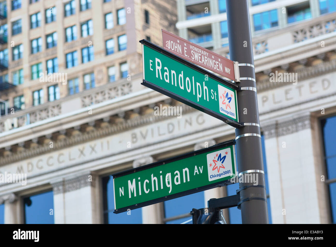 Street Sign Signs Chicago, N Michigan Av and E Randolph St - Stock Image