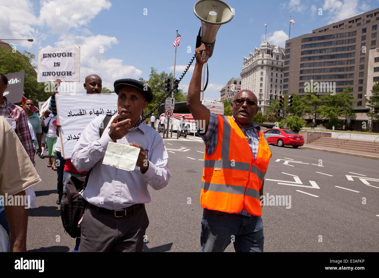 Eritreans protest for democratic change and human rights in Eritrea - Washington, DC USA - Stock Image