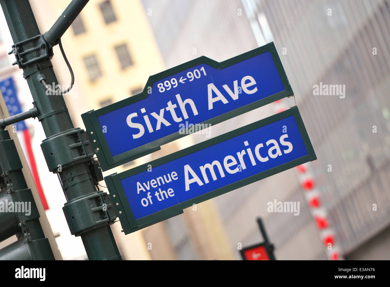 Sixth Ave Avenue, Street Sign, Road Signs, New York, NY - Stock Image