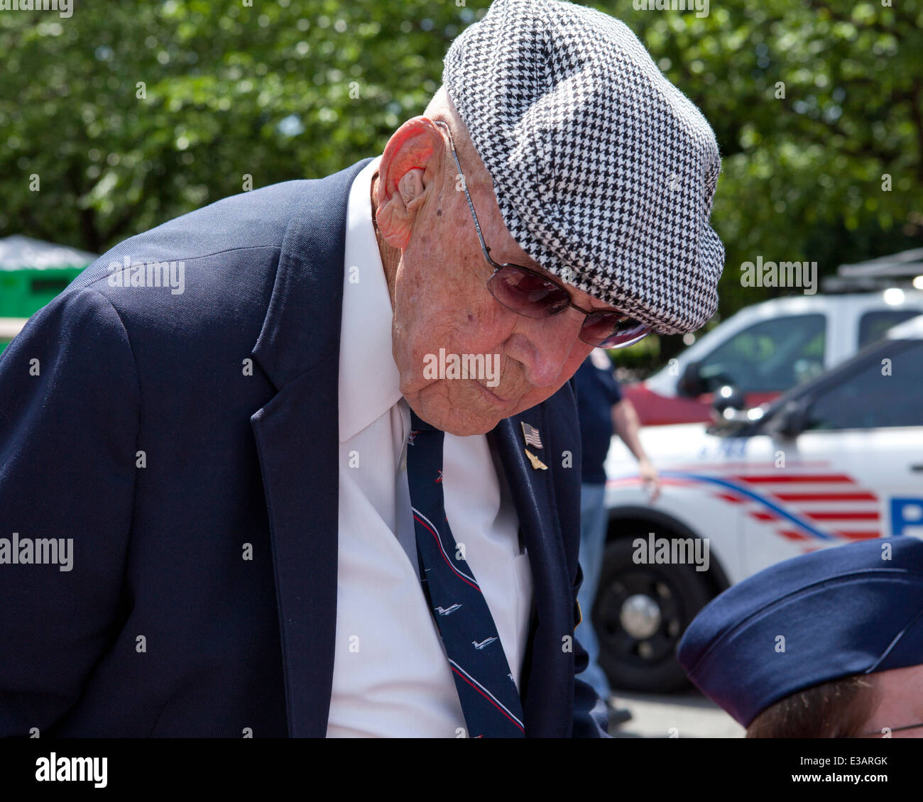 Lieutenant Colonel Richard Cole, the last living veteran of the Doolittle Raid in WWII, during the national Memorial - Stock Image