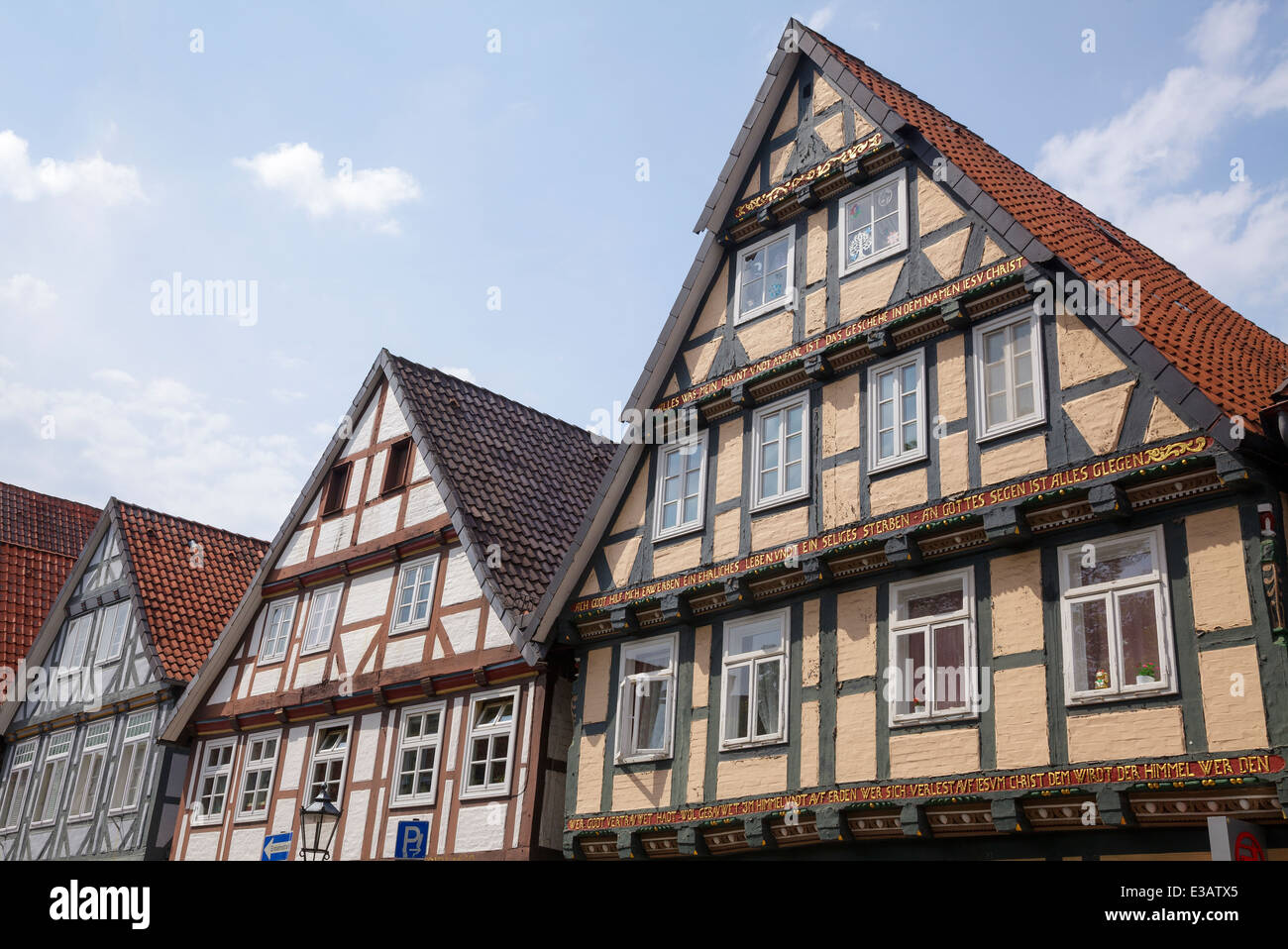 timber frame buildings on Schuhstrasse, Celle, Lower Saxony, Germany - Stock Image
