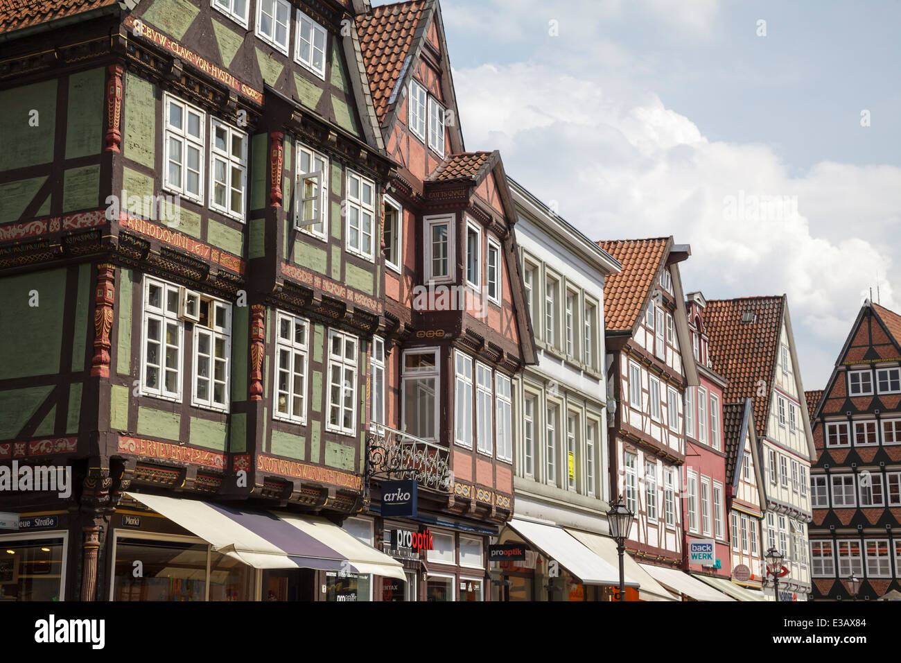 timber frame buildings on the Markt, Celle, Lower Saxony, Germany - Stock Image