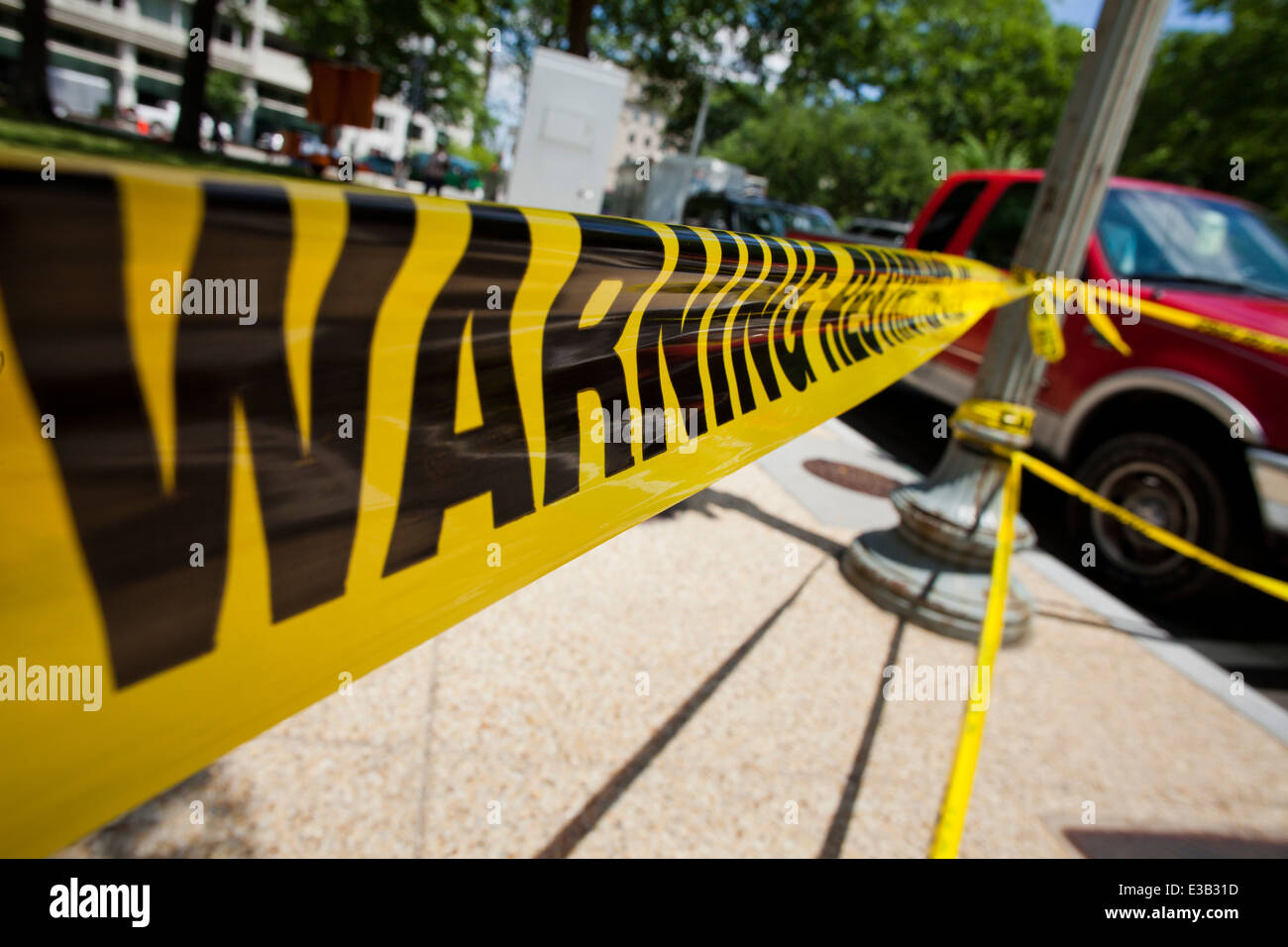 Restricted area warning tape - USA - Stock Image