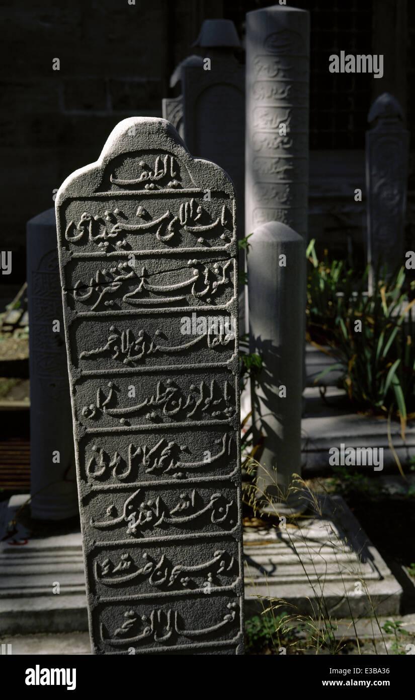 Turkey. Istanbul. Ottomans stone stelae. Cemetery. Complex of Suleymaniye Mosque. Stock Photo