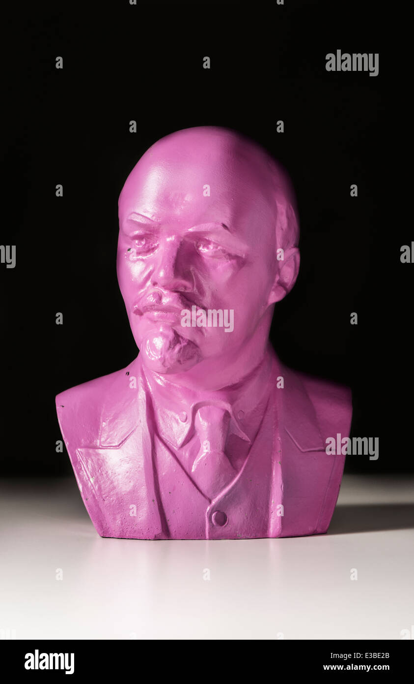 Pink bust of famous russian communist politician and leader Vladimir Lenin - Stock Image