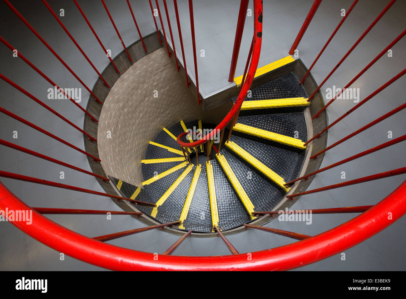 A spiral staircase at the Munrow Sports Centre at Birmingham University, UK - Stock Image