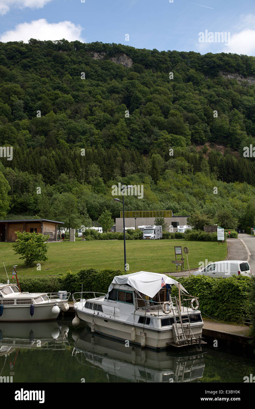 Yacht-basin and camperstop of Baume-les-Dames, Franche-Comté, Doubs, France - Stock Image