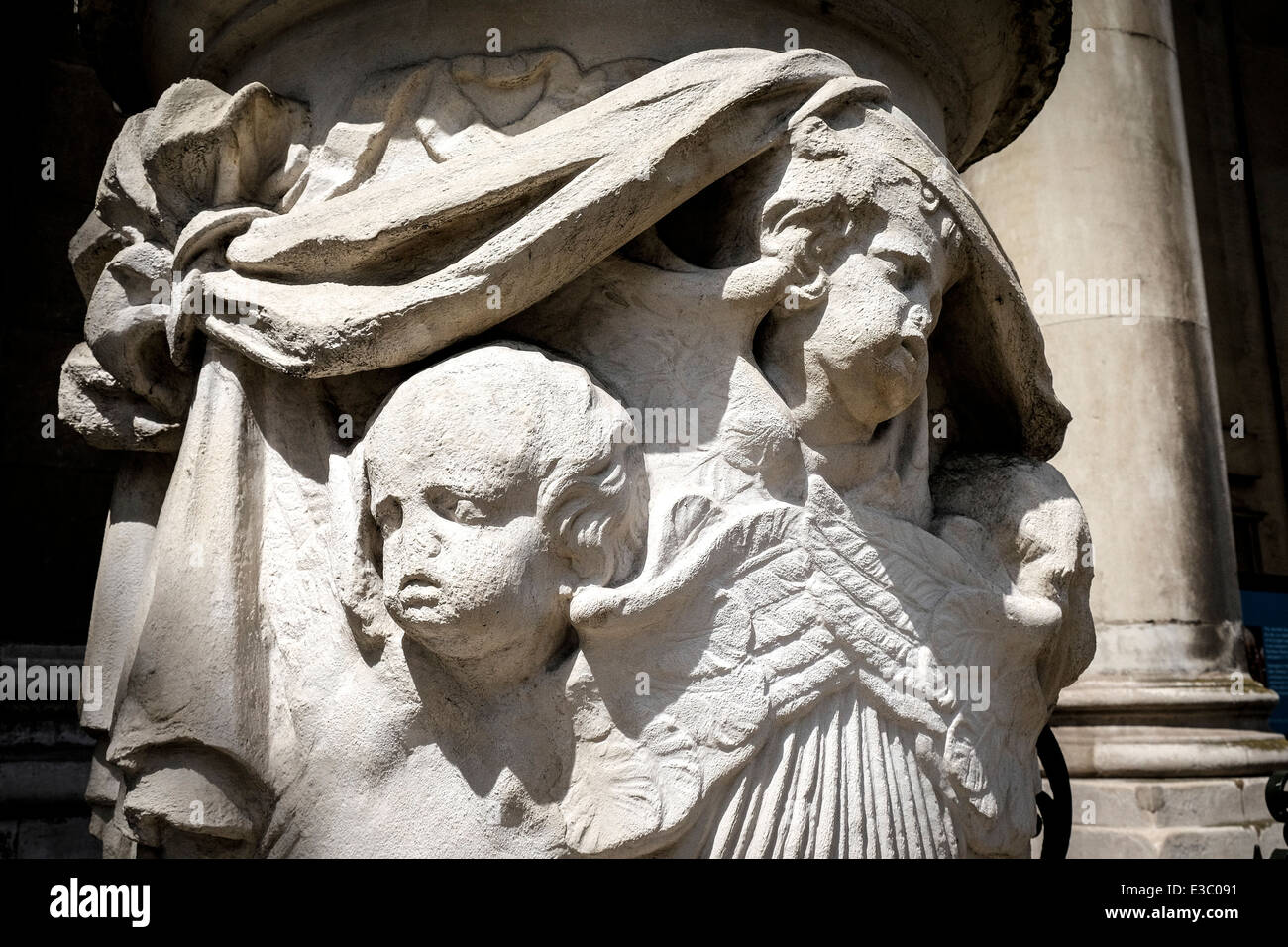 The effects of weathering showing on the eroded stone carvings at St Alfeges Church. - Stock Image