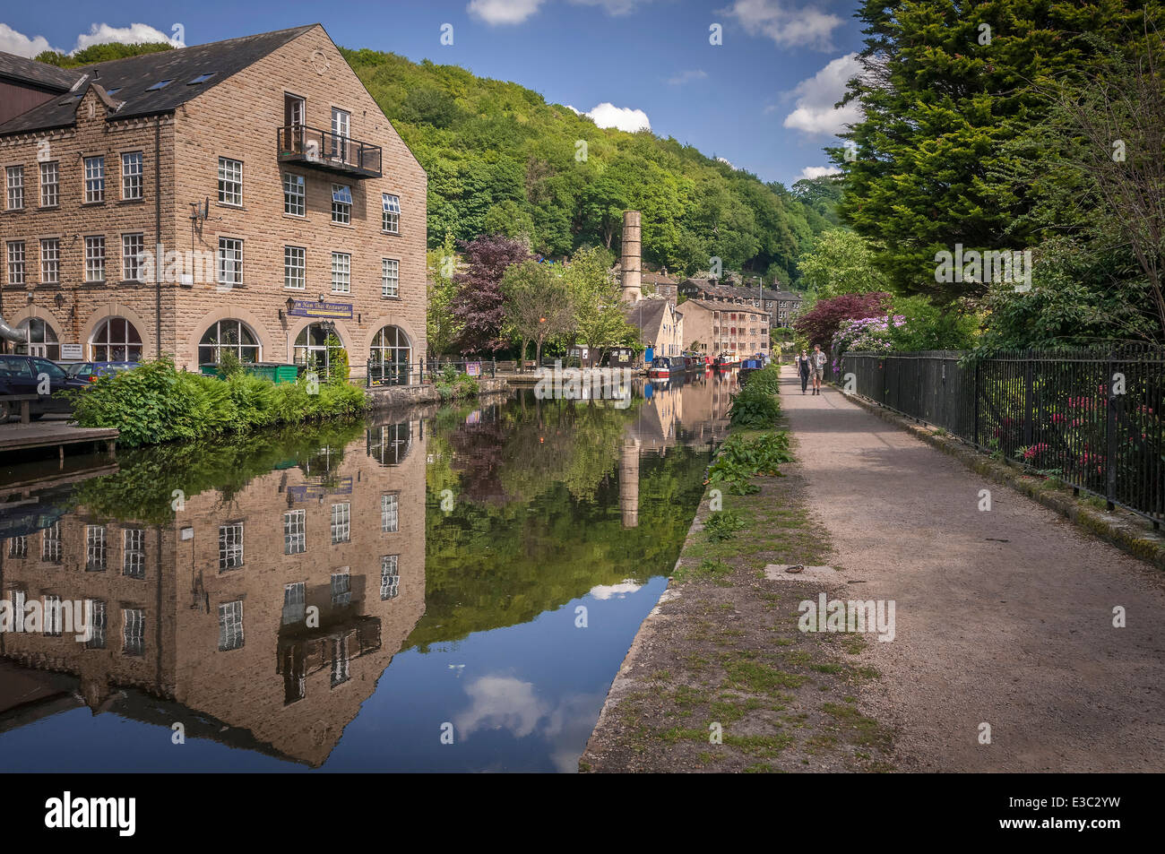 Hebden Bridge Calderdale. West Yorkshire. North West England. The Rochdale canal. - Stock Image