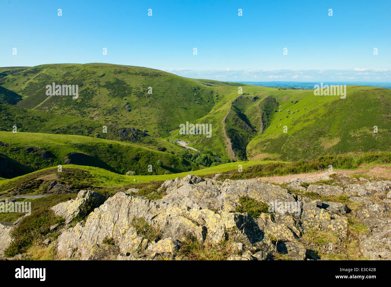 Evening light on the Long Mynd, looking into Carding Mill Valley, Church Stretton, Shropshire, England - Stock Image