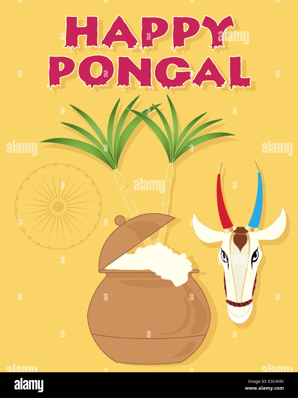 An illustration of a happy pongal greeting card with overflowing pot an illustration of a happy pongal greeting card with overflowing pot sugar canes a cow head and india symbol m4hsunfo