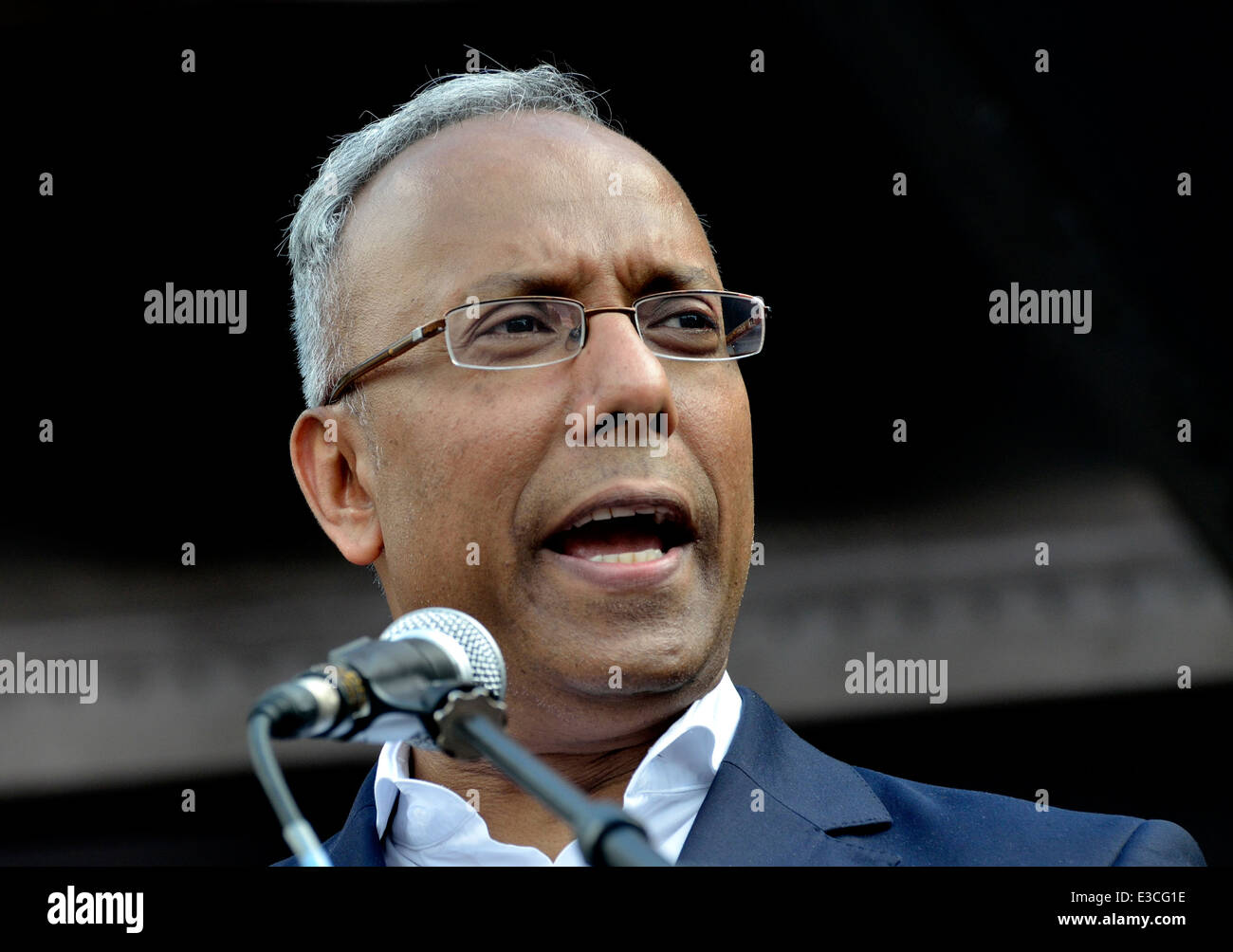 Lutfur Rahman - mayor of Tower Hamlets - speaking at a rally in Parliament Square, London, 21st June 2014 - Stock Image