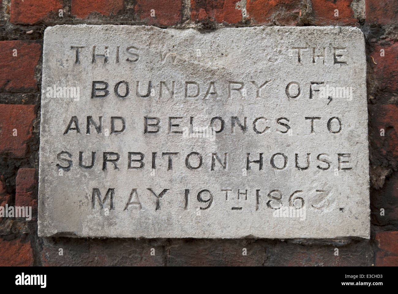 plaque marking the boundary of the former surbiton house, a manor house now consumed by kingston upon thames, surrey, Stock Photo