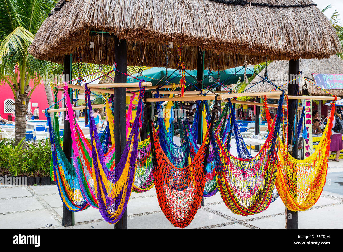 Hammocks for sale at the cruise ship terminal in Costa Maya, Mexico. - Stock Image