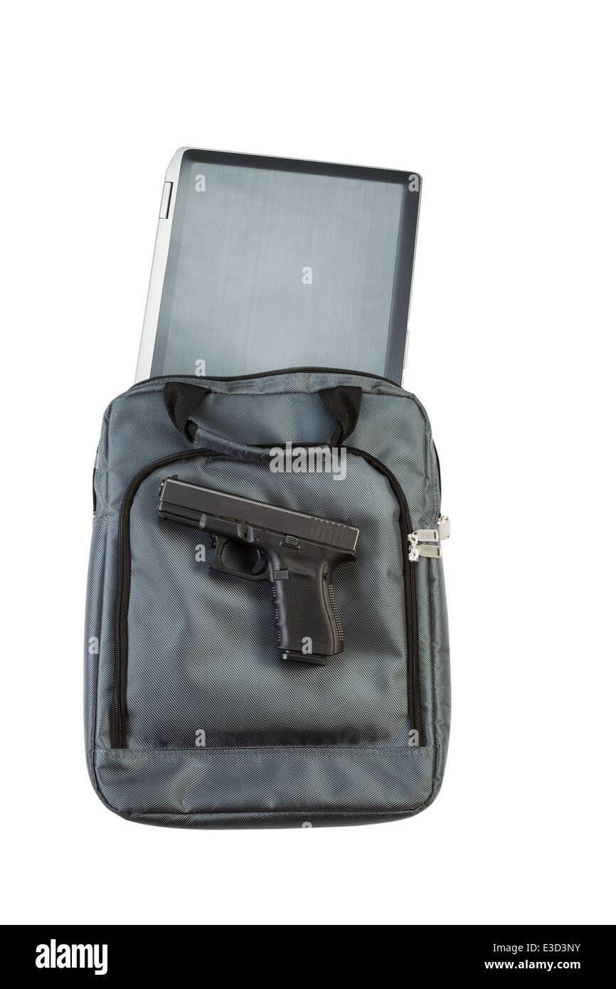Vertical view of laptop computer, personal weapon and carry case, isolated on white - Stock Image